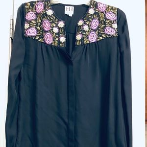 Haute Hippie Embroidered Floral Boho Top Blue M